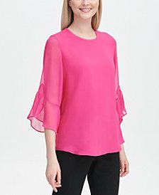 Calvin Klein Ruffled-Sleeve Blouse