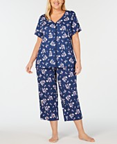 a55fe4adf01 Charter Club Plus-Size Printed Cotton Top and Cropped Pajama Pants Set