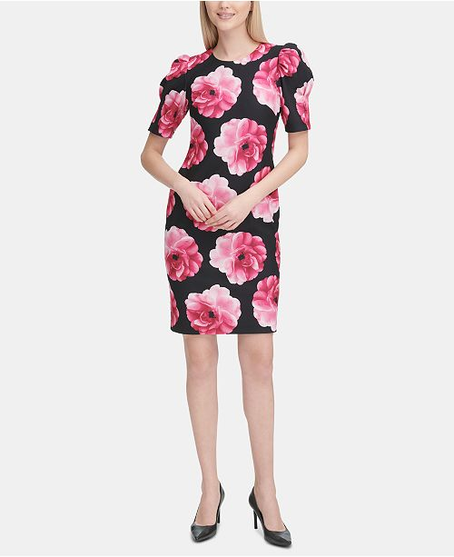 ee456683 Calvin Klein Printed Puff-Sleeve Sheath Dress & Reviews - Dresses ...