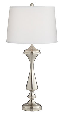 Pacific Coast Brushed Nickel Table Lamp with White Shade