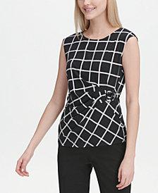 Calvin Klein Windowpane-Check Sleeveless Blouse