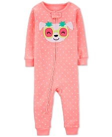 Carter's Cotton Footless Pajamas with Dog Face Appliqué