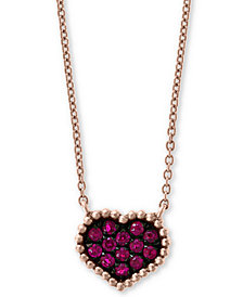 "EFFY® Certified Ruby (1/8 ct. t.w.) Heart 16"" Pendant Necklace in 14k Rose Gold"