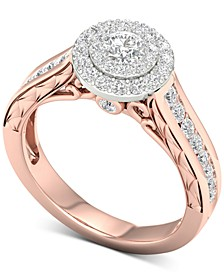 Diamond (1 ct. t.w.) Halo Ring in 14k White & Rose Gold