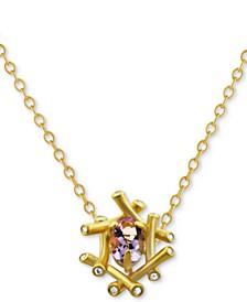 "Pink Amethyst (3/4 ct. t.w.) & Diamond and White Topaz Accent 16"" Pendant Necklace in 18k Gold-Plated Sterling Silver"