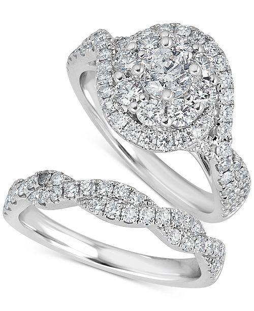 Macy's Diamond (2 ct. t.w.) Bridal Set in 14k White Gold