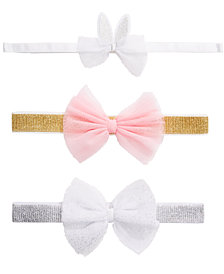 First Impressions Baby Girls 3-Pk. Bunny & Bows Headbands, Created for Macy's