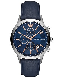 Emporio Armani Men's Chronograph Blue Leather Strap Watch 43mm
