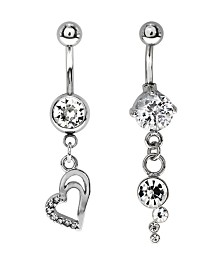 Bodifine Stainless Steel Crystal Drop Charm Belly Bars Set of 2