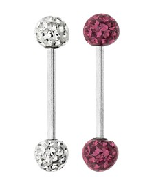 Bodifine Stainless Steel Set of 2 Crystal and Resin Tongue Bars