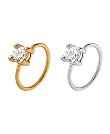 Bodifine Stainless Steel Set of 2 Colors Cz Cartilage Rings