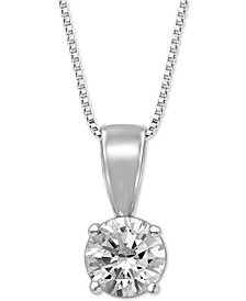 "Diamond Solitaire 18"" Pendant Necklace (3/4 ct. t.w.)"