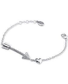 CHARRIOL White Topaz Arrow, Heart & Cable Link Bracelet (1/10 ct. t.w.) in Sterling Silver & Stainless Steel