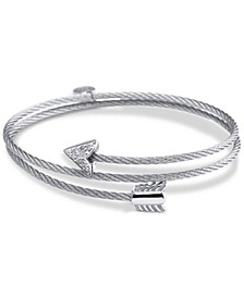White Topaz Arrow Wrap Bracelet (1/10 ct. t.w.) in Stainless Steel and Sterling Silver