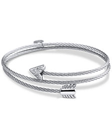 CHARRIOL White Topaz Arrow Wrap Bracelet (1/10 ct. t.w.) in Stainless Steel and Sterling Silver
