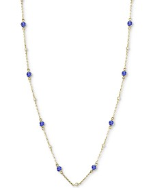 EFFY® Tanzanite (1-1/4 ct. t.w.) & Diamond (1/8 ct. t.w.) Station Collar Necklace in 14k White Gold