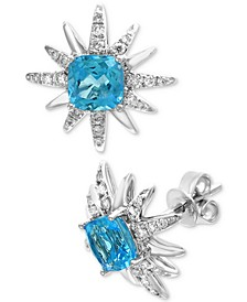 EFFY® Blue Topaz (2-7/8 ct. t.w.) & Diamond (1/3 ct. t.w.) Starburst Stud Earrings in 14k White Gold