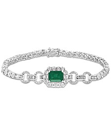 EFFY® Emerald (1-3/8 ct. t.w.) & Diamond (3/4 ct. t.w.) Link Bracelet in 14k White Gold