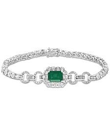 EFFY® Emerald (1-3/8 ct. t.w.) & Diamond (3/4 ct. t.w.) Link Bracelet in 14k White Gold