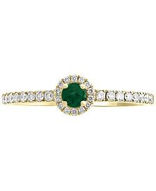 EFFY® Emerald (1/10 ct. t.w.) & Diamond (1/5 ct. t.w.) Ring in 14k Gold