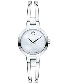 Women's Swiss Amorosa Stainless Steel Bangle Bracelet Watch 24mm