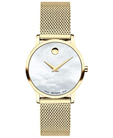 Women's Swiss Museum Gold-Tone PVD Stainless Steel Mesh Bracelet Watch 28mm