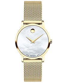Movado Women's Swiss Museum Gold-Tone PVD Stainless Steel Mesh Bracelet Watch 28mm