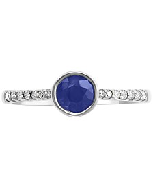 EFFY® Sapphire (5/8 ct.t.w.) & Diamond (1/10 ct.t.w.) Ring in 14K White Gold