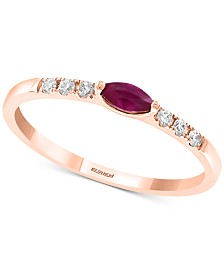 EFFY Certified Ruby (1/6 ct. t.w.) and Diamond (1/10 ct. t.w.) Ring in 14k Rose Gold (Also available in Sapphire and Tsavorite)