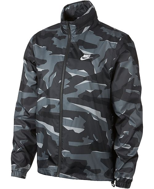 Shop Black Nike Camo Print Essential Hooded Jacket for Men | NISNASS