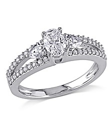 Certified Diamond (7/8 ct. t.w.) Oval-Shape 3-Stone Engagement Ring in 14k White Gold