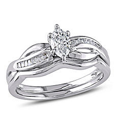 Certified Diamond (1/2 ct. t.w.) Marquise-Shape Bridal Set in 14k White Gold