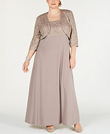 R & M Richards Plus Size Lace Poncho Gown