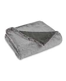 "CLOSEOUT! Vellux Faux Fur Light Gray Rabbit Throw, 50""x60"""