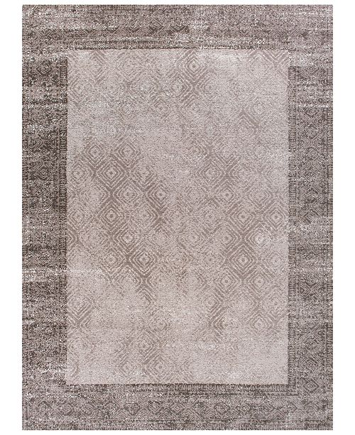"""Kas CLOSEOUT! Retreat Border 114 Taupe 1'8"""" x 2'7"""" Runner Area Rug"""