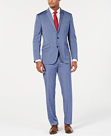 Men's Ready Flex Slim-Fit Stretch Denim Blue Sharkskin Suit