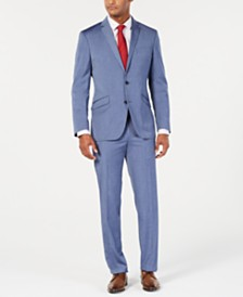 Kenneth Cole Reaction Men's Techni-Cole Slim-Fit Stretch Denim Blue Sharkskin Suit