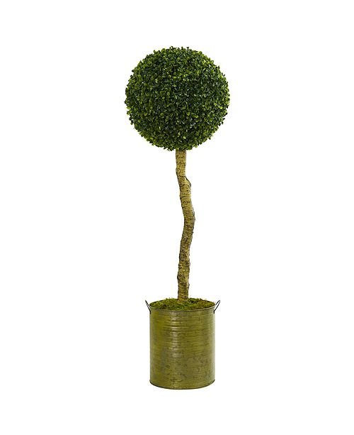 Nearly Natural 4' Boxwood Ball Topiary Artificial Tree in Green Tin Planter UV Resistant