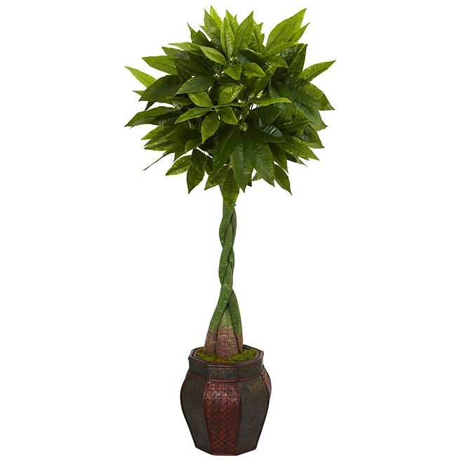 Nearly Natural 5' Money Artificial Tree in Decorative Planter