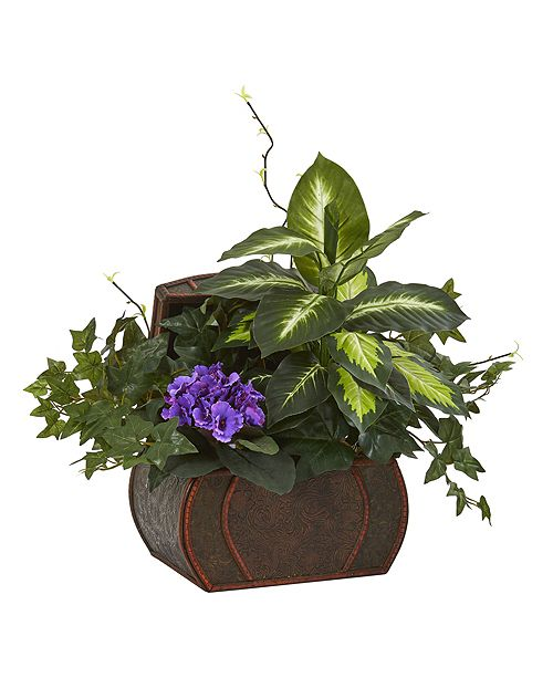Nearly Natural African Violet and Mix Greens Artificial Plant in Decorative Chest