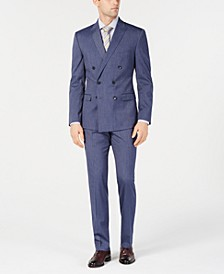 Men's Ready Flex Slim-Fit Stretch Denim Blue Stripe Double Breasted Suit