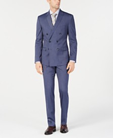 Kenneth Cole Reaction Men's Techni-Cole Slim-Fit Stretch Denim Blue Stripe Double Breasted Suit