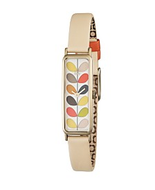 Orla Kiely Watch, Cream Leather Strap With Buckle Closure