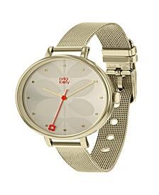 Orla Kiely Watch, Gold Plated Mesh Bracelet