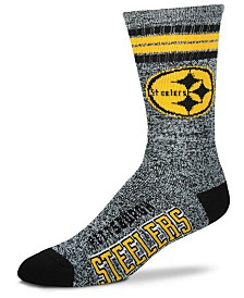 For Bare Feet Pittsburgh Steelers Marbled 4 Stripe Deuce Crew Socks