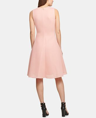 Dkny Mesh High Low Fit Flare Dress Created For Macy S Dresses