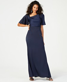 Vince Camuto Asymmetrical-Neck Ruffle-Sleeve Gown