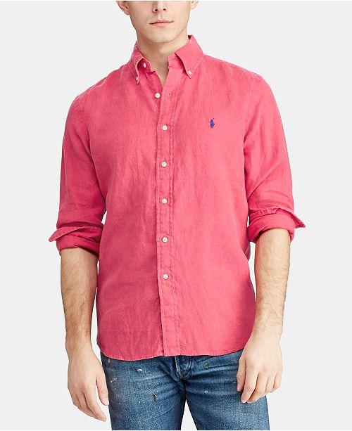 e36e7cc3a375 Polo Ralph Lauren Men s Slim Fit Linen Shirt   Reviews - Casual ...