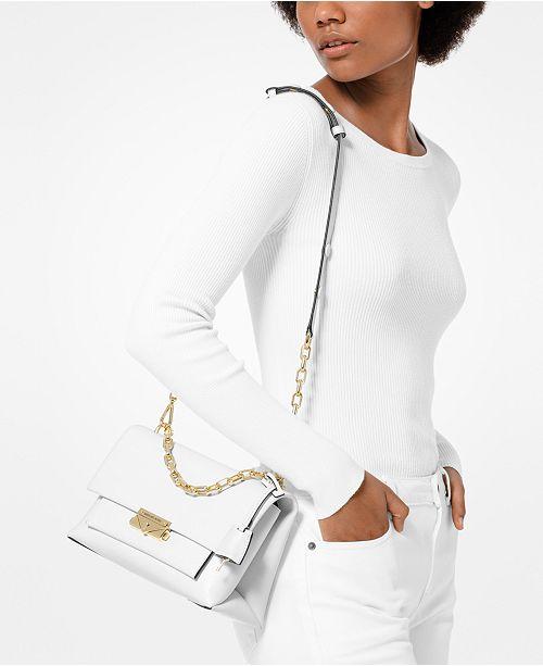 6618f78fb484 ... Michael Kors Cece Polished Leather Chain Small Shoulder Bag ...