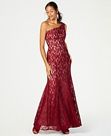 Petite One-Shoulder Glitter Lace Gown